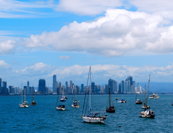 A view of the Bay of Panama and the Panama City skyline