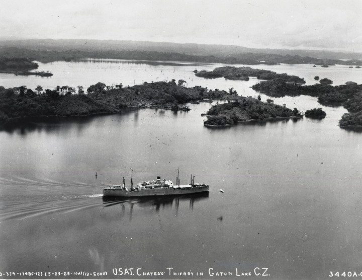A ship crosses the Gatún Lake portion of the Panama Canal in 1928
